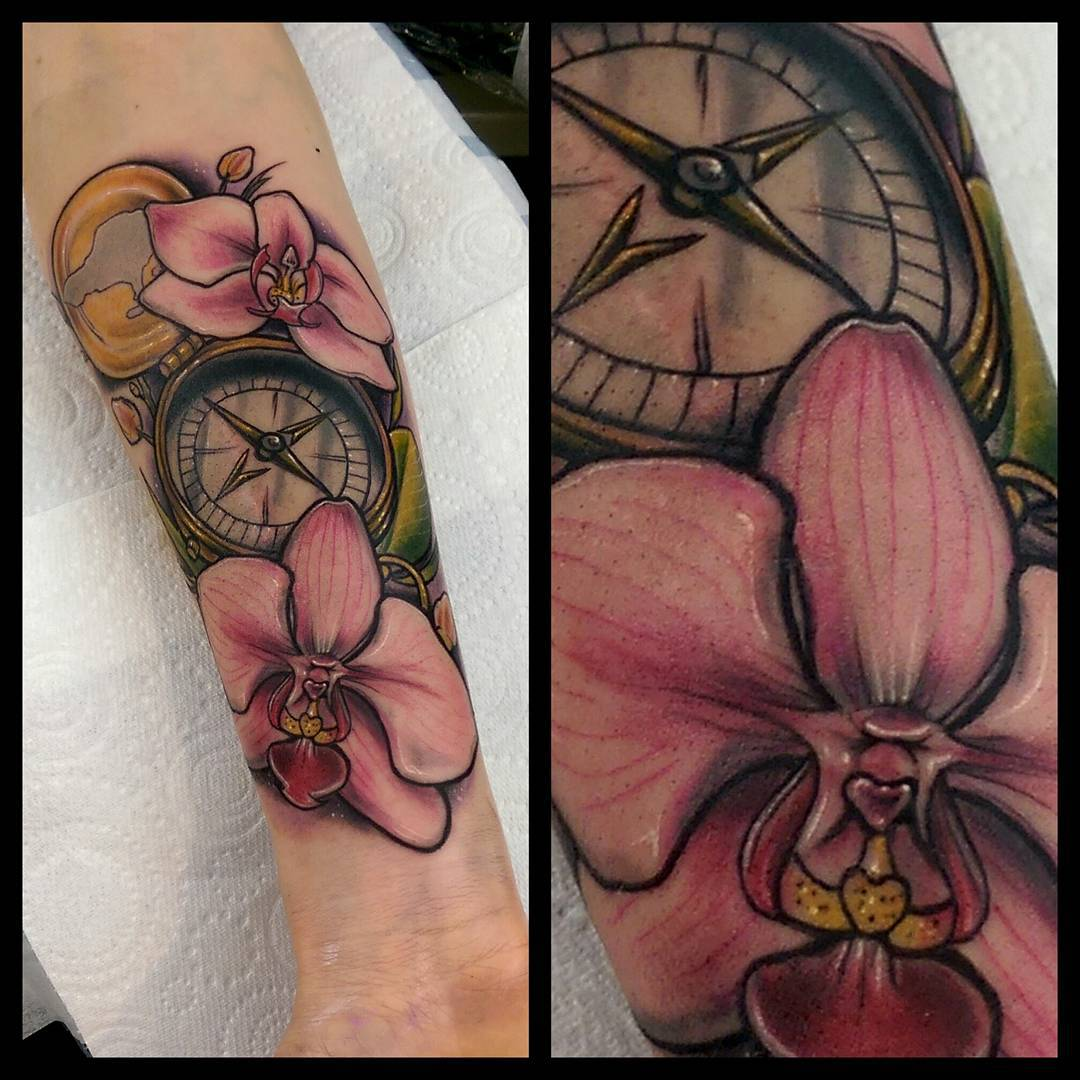 Orchids and Compas Tattoo on Arm