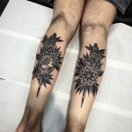 Pair Baroque Tattoos on Calfs