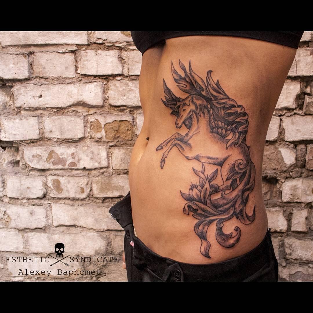 Pegasus Tattoo on Body Side