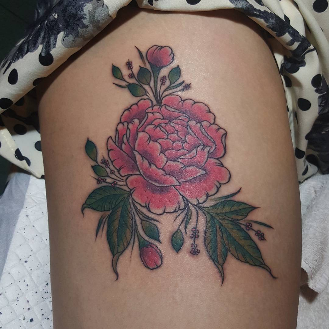 Pink Flower Tattoo on Thigh