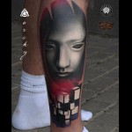 Puzzle Cube White Mask Tattoo