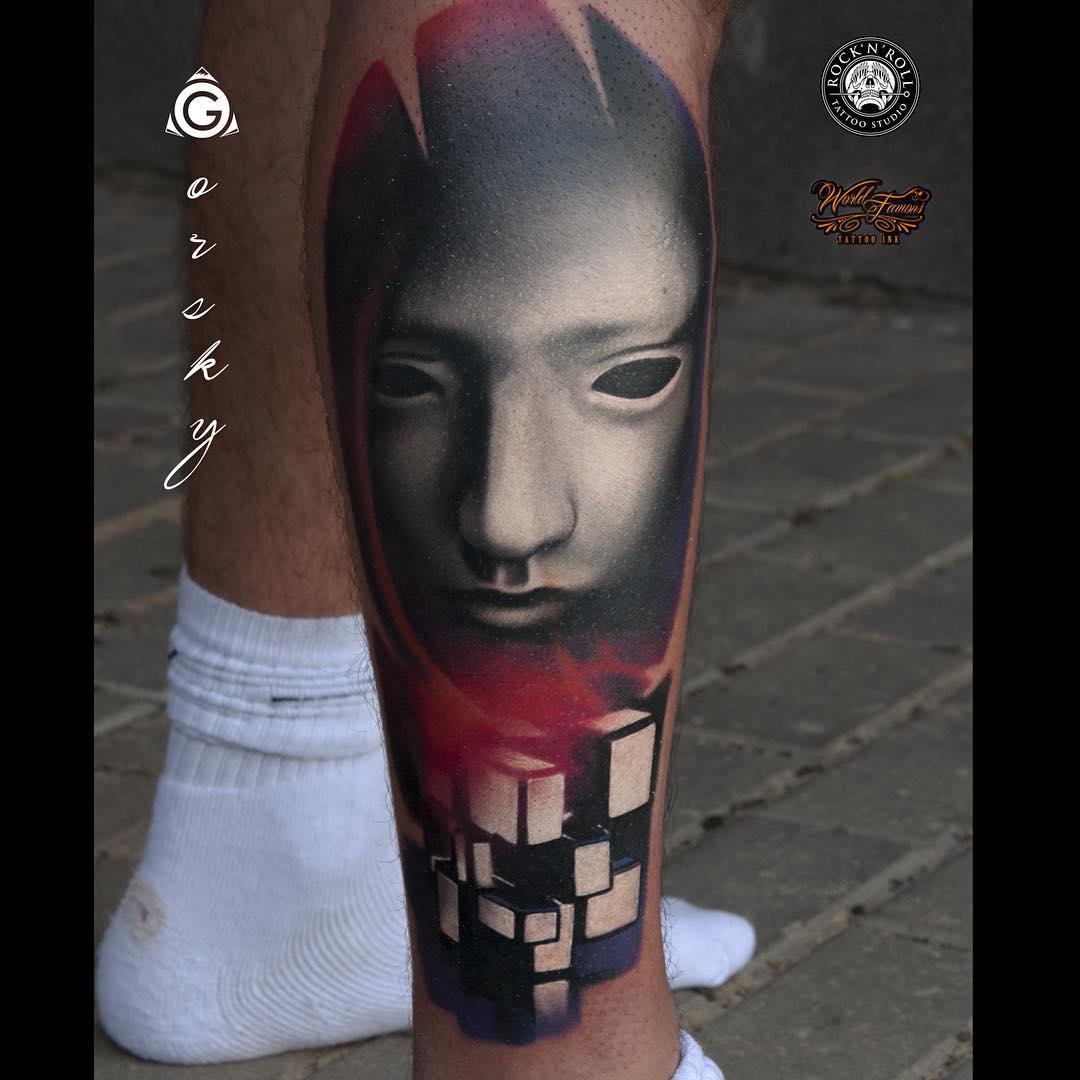 Puzzle Cube White Mask Tattoo