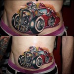 Racing Car New School Tattoo