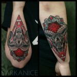 Ram Head Tattoo on Forearm