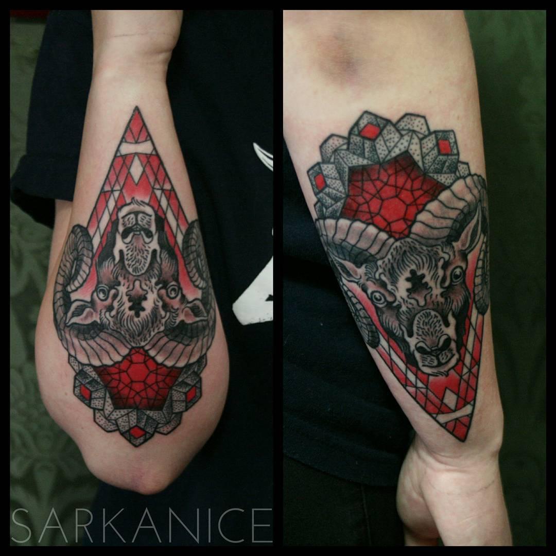 Ram Head Tattoo on Forearm