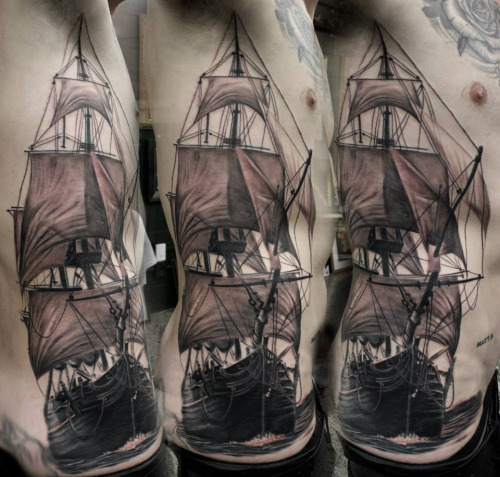 Real Ship Body Tattoo
