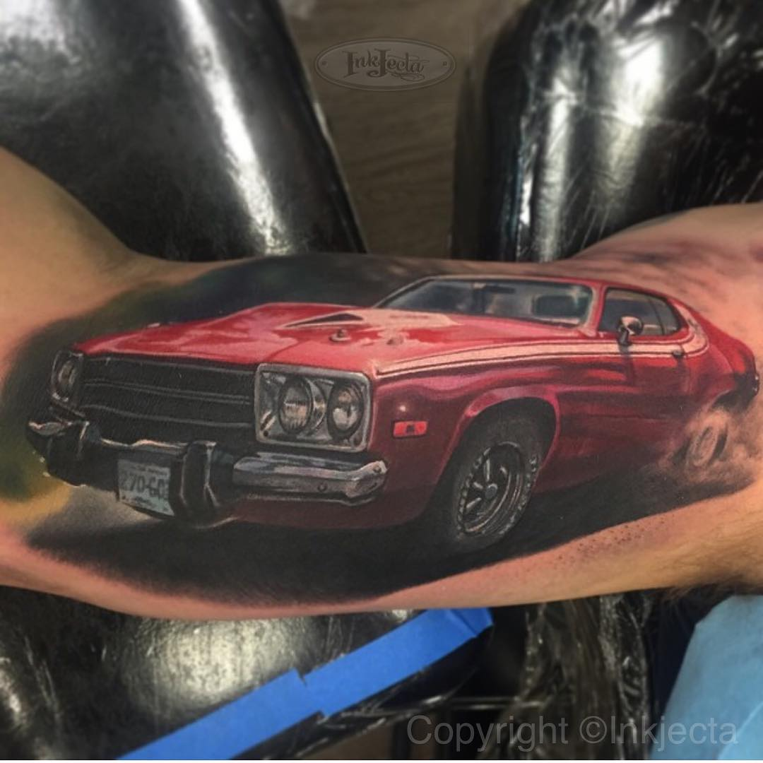 Realistic Car Tattoo on Arm