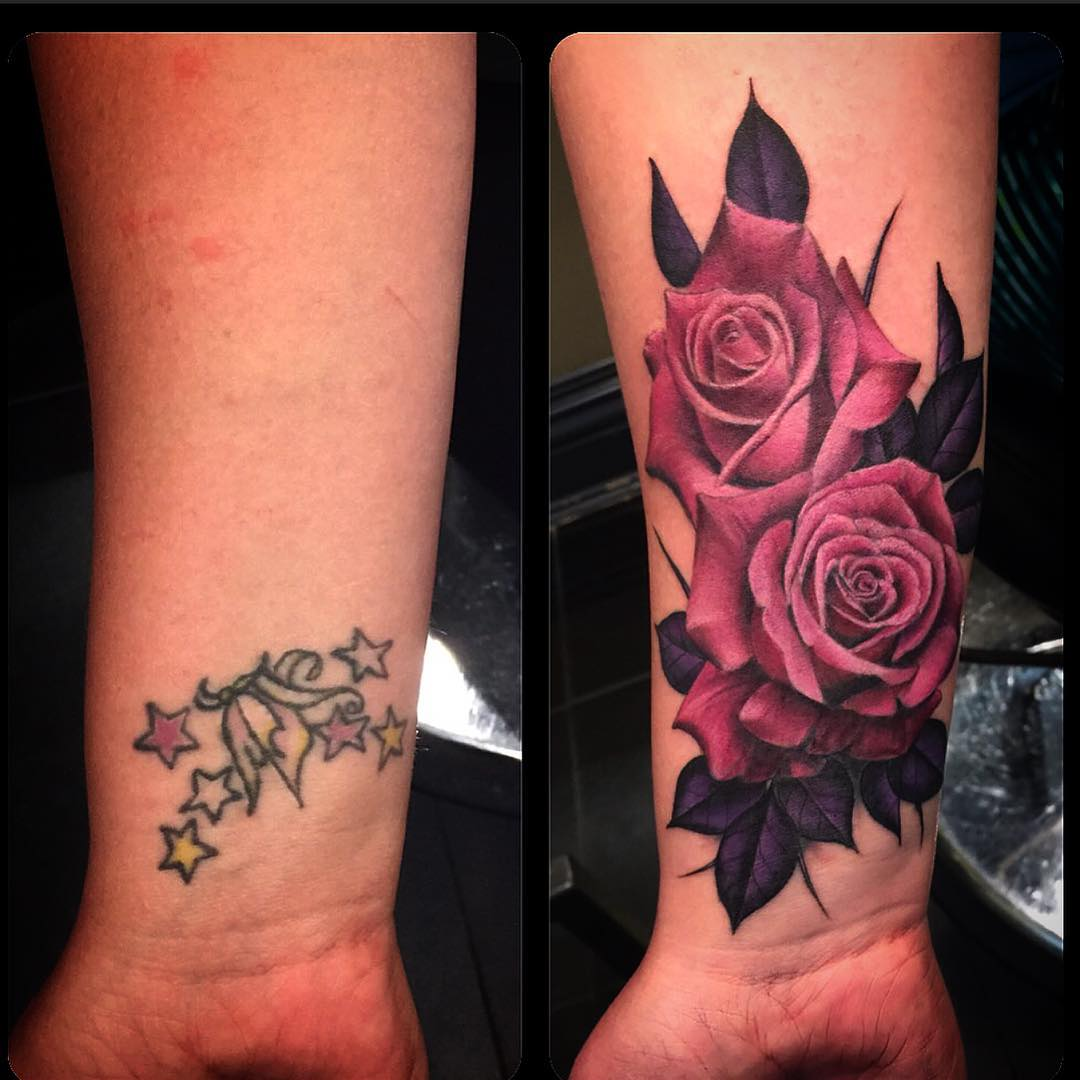 Rose Cover Up Tattoos
