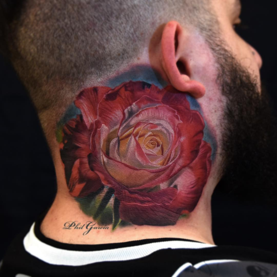 2cc4549bf Big Rose Neck Tattoo | Best Tattoo Ideas Gallery
