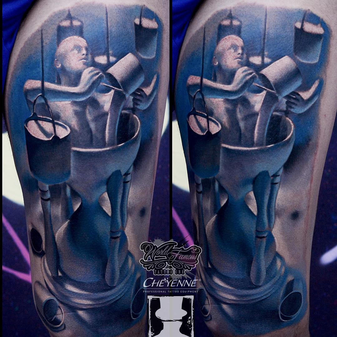 Sand Clock Man 3D Tattoo