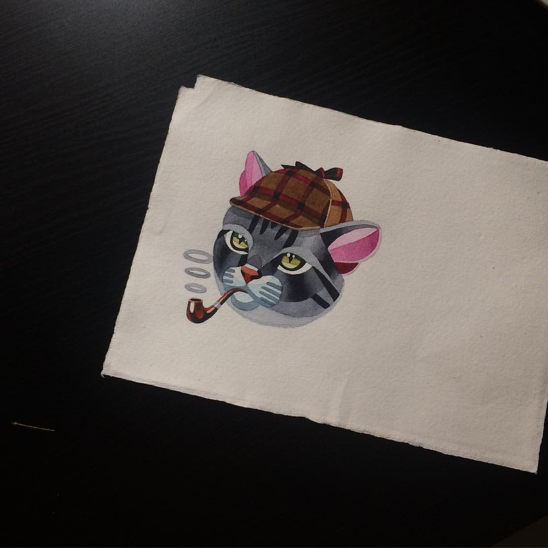 Sherlok Cat Tattoo Design