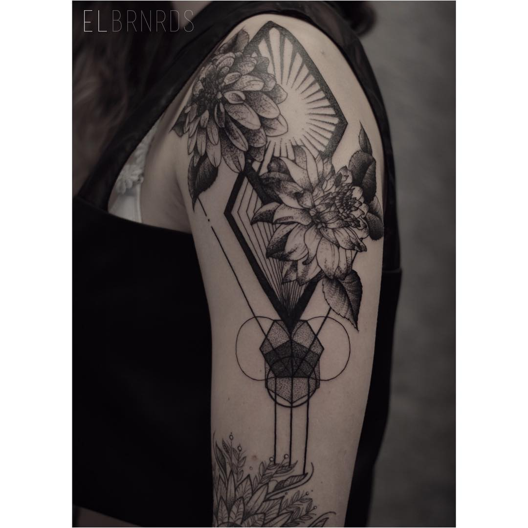 Shoulder Geometry Flowers Tattoo