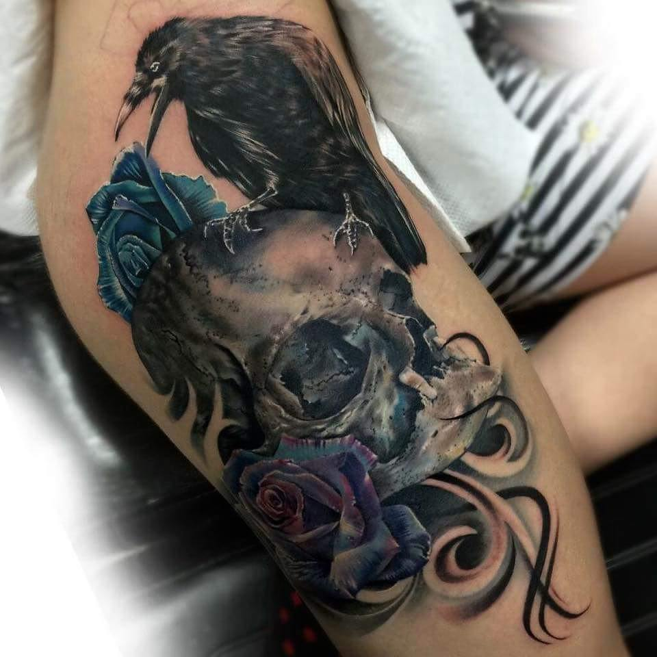 Crow Skull and Roses Tattoo on hip