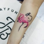 Small Watercolor Flamingo Tattoo