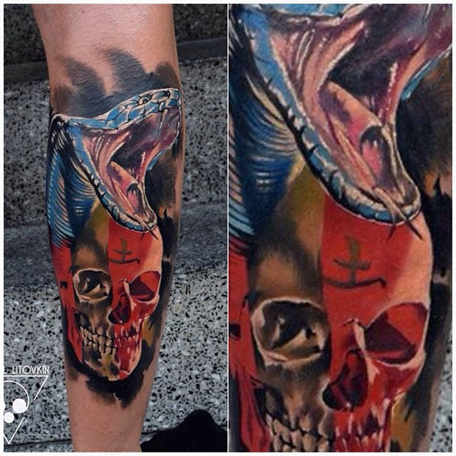 Snake and Skull Leg Tattoo