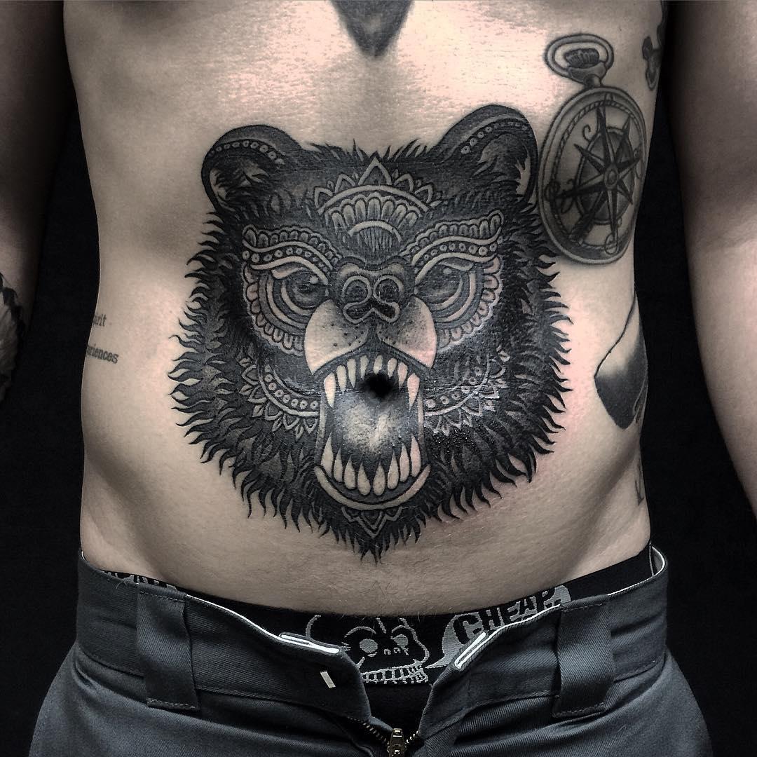 Stomach Bear Tattoo