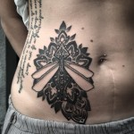 Stomach Dragonfly Tattoo