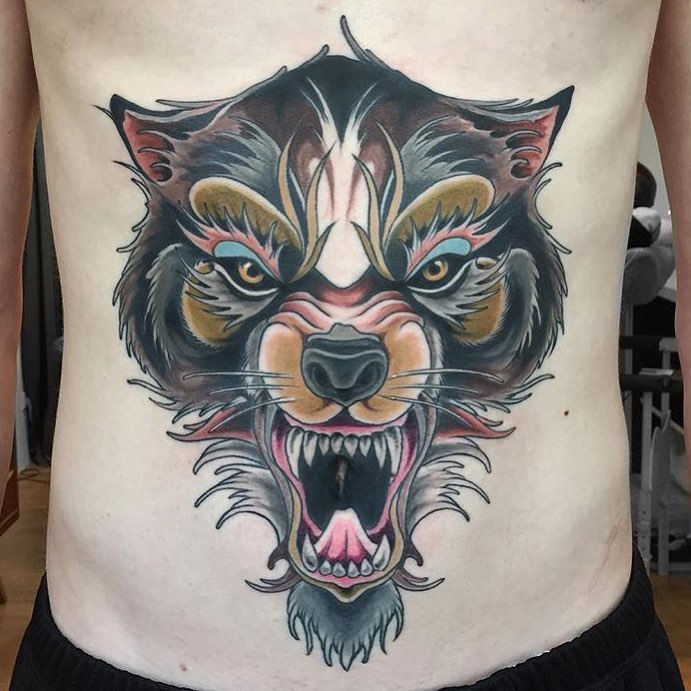 stomach wolf tattoo best tattoo ideas gallery