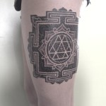 Thigh Geometry Mandala Tattoo