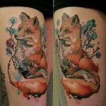 Thigh Watercolor Fox Tattoo