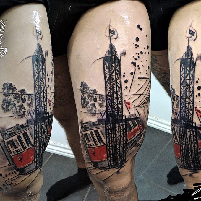 Tram Tattoo on Thigh