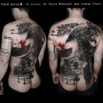 Trash Polka Full Back Tattoo