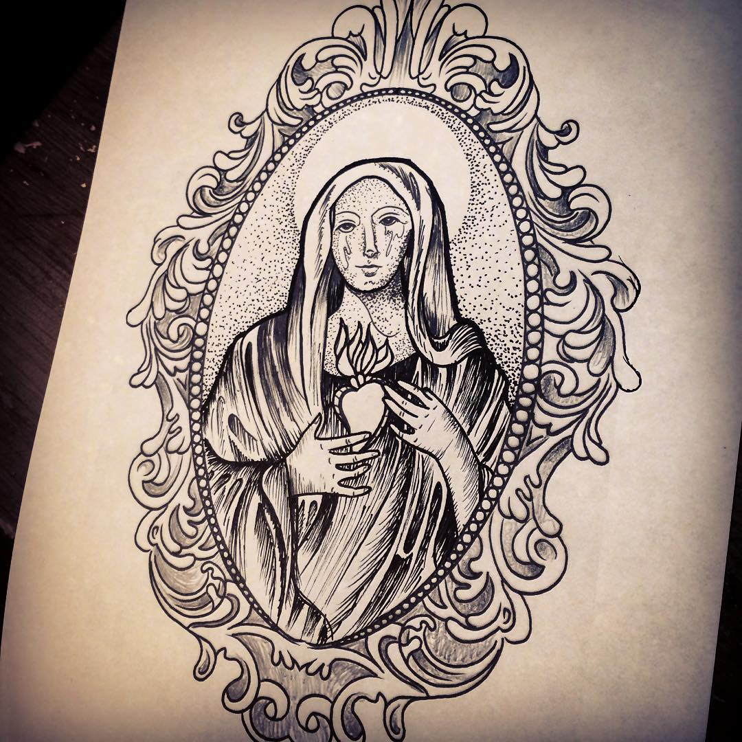 Virgin Mary Tattoo Design