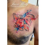 Watercolor Fish Tattoo on Chest