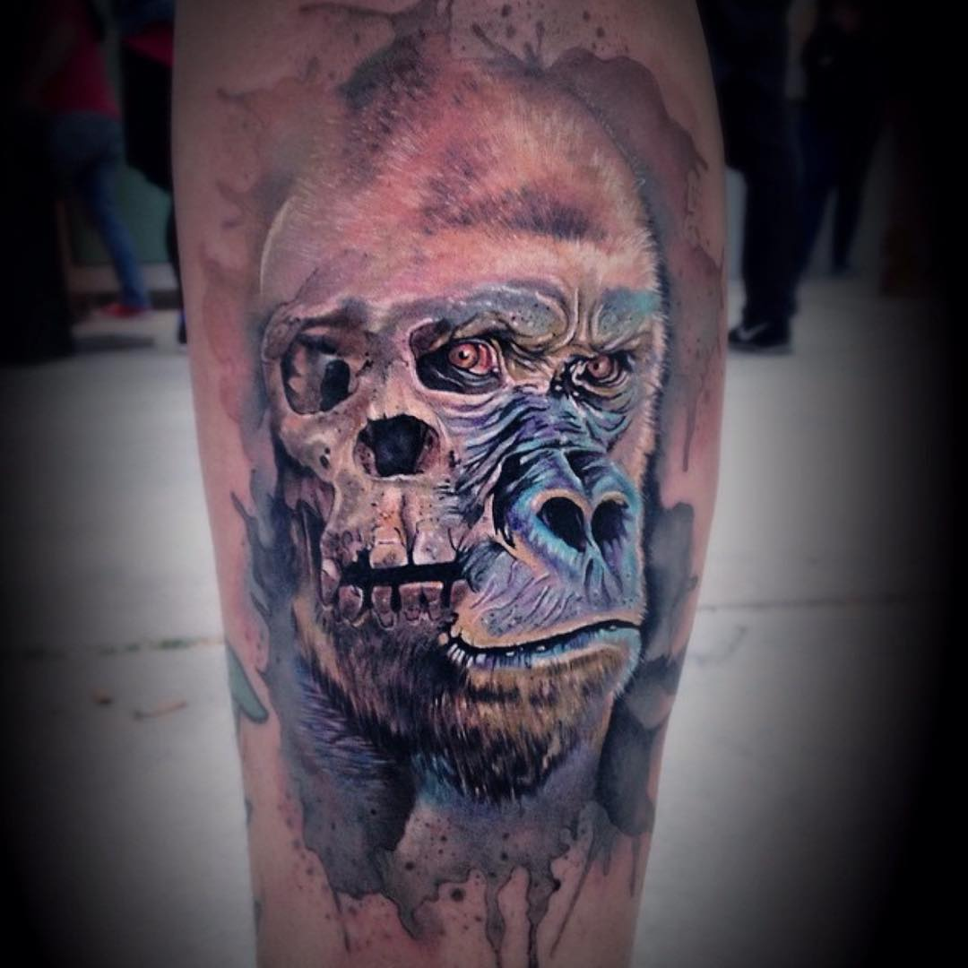 Watercolor Gorilla Face Tattoo
