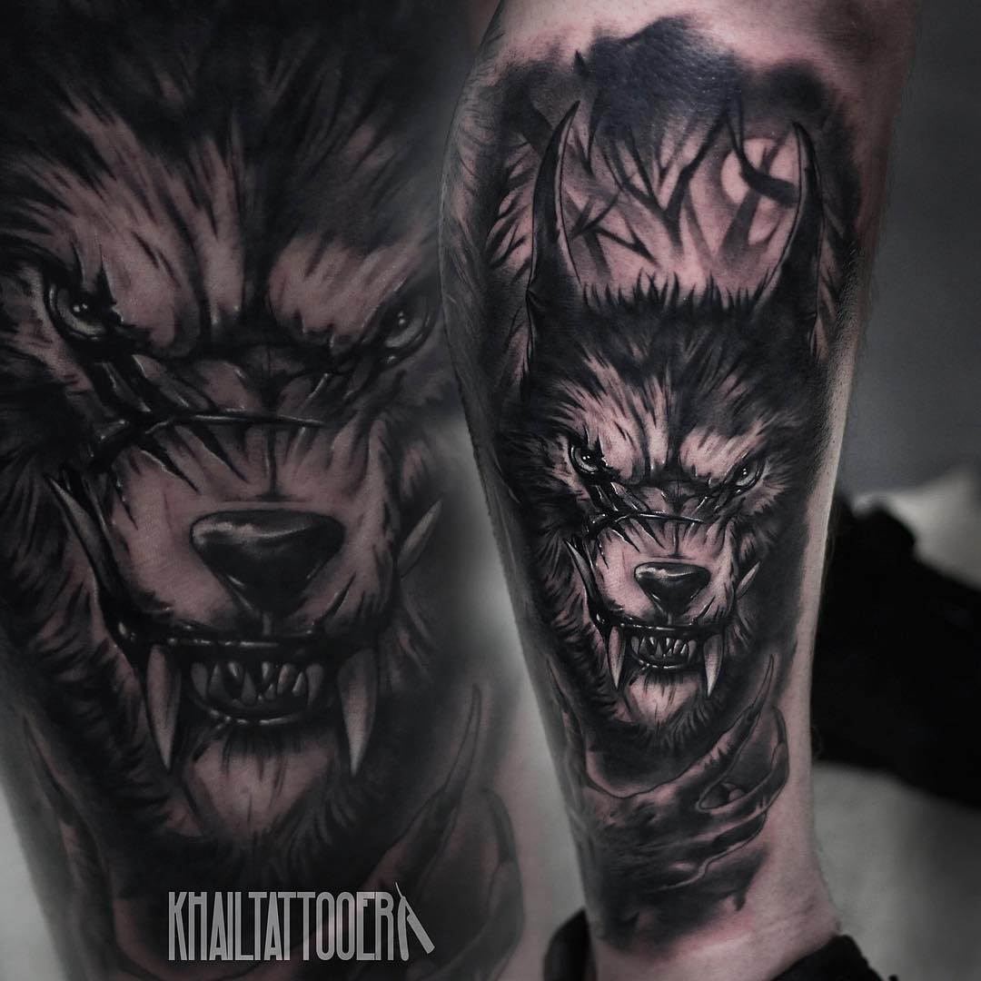 demonic Wolf Face Tattoo