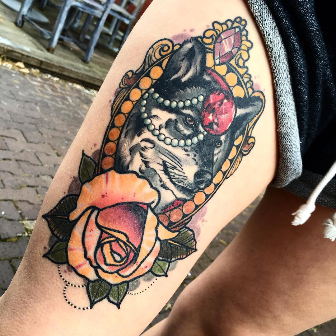 Wolf Ruby Rose Tattoo on Thigh