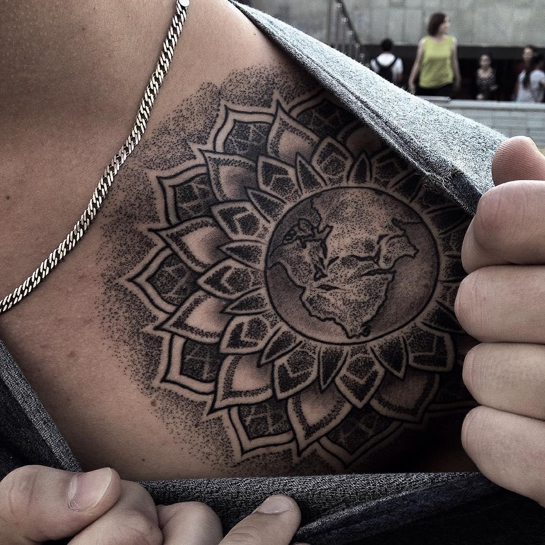 World Mandala Collar Bone Tattoo