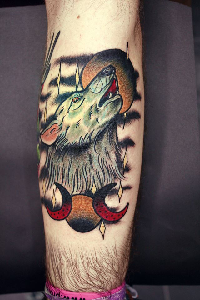 wolf tattoo and moon