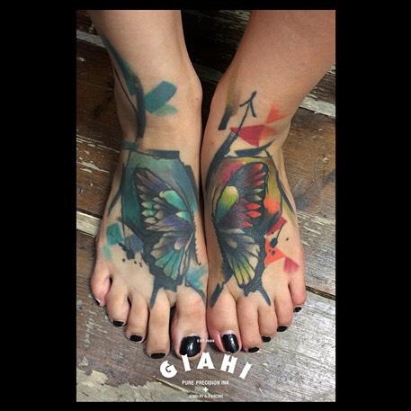 Butterfly Feet Tattoo