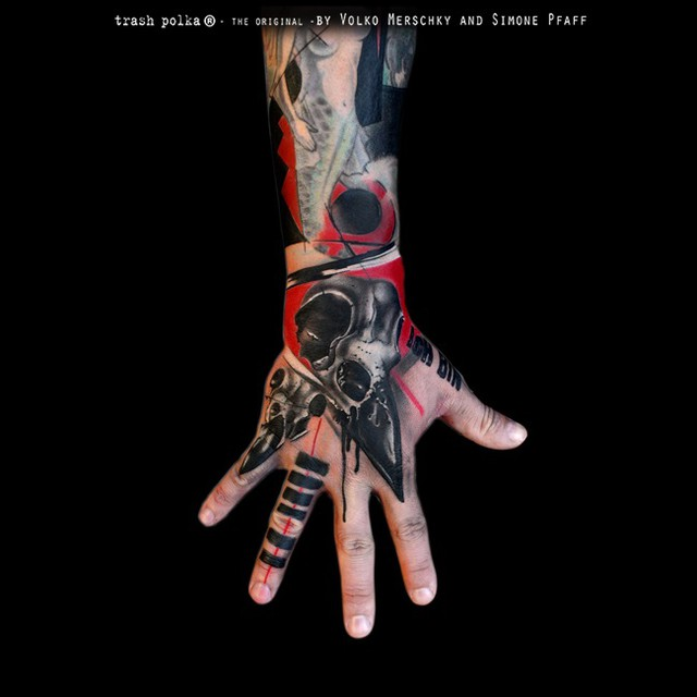 Awesome Trash Polka Hand Tattoo
