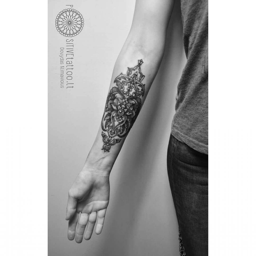 Baroque Tattoo Pattern on Forearm