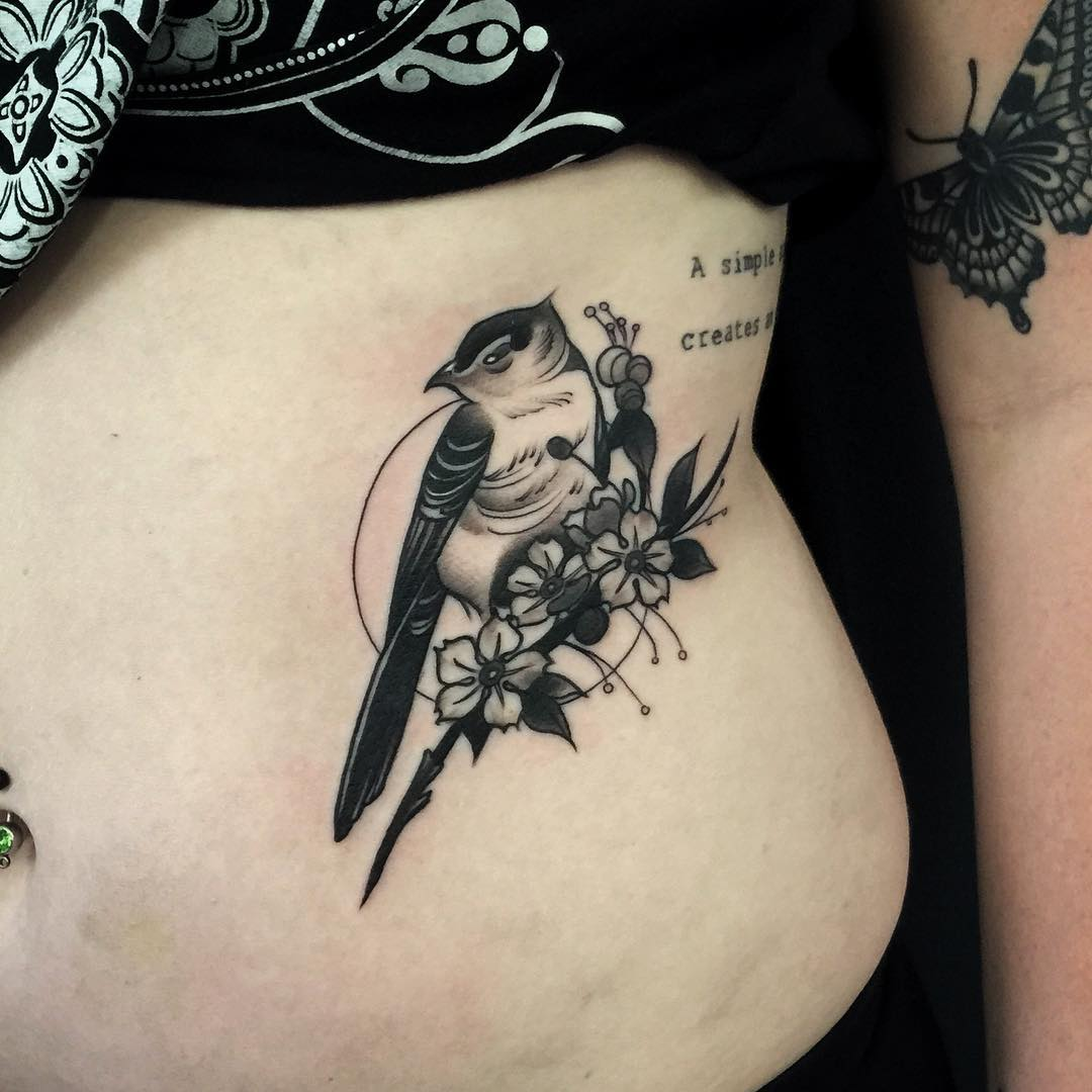 Bird and Fower Tattoo
