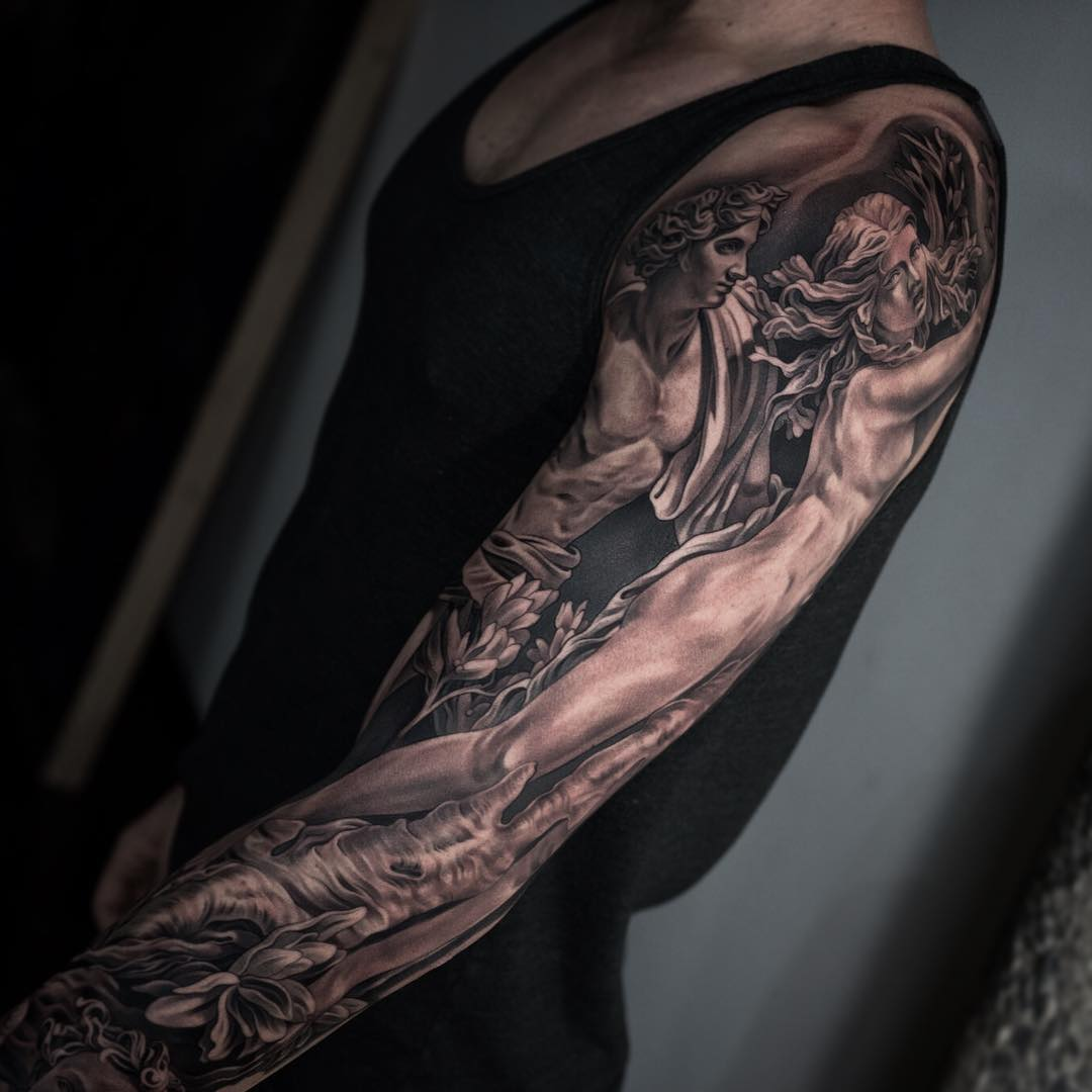 Ancient Black and Grey Tattoo Sleeve on full arm