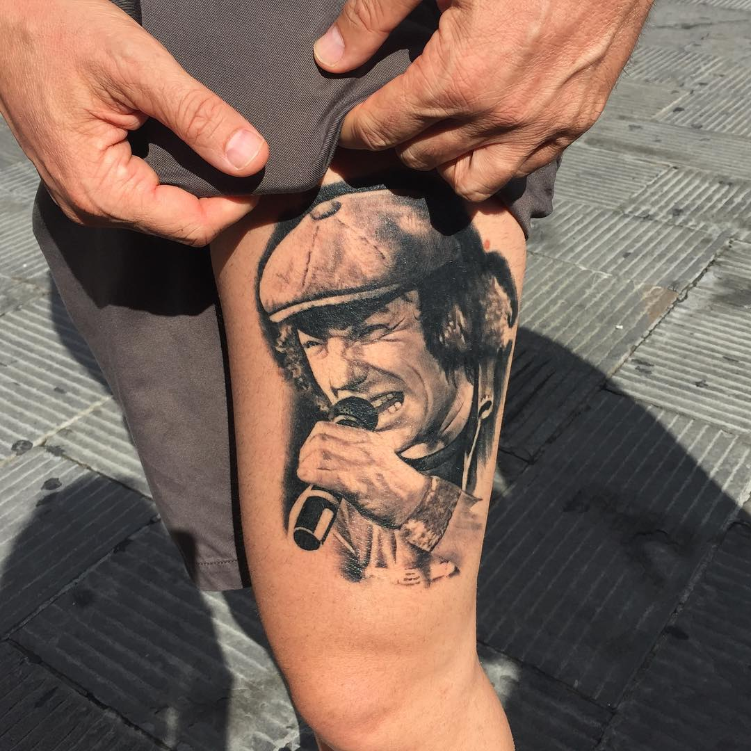 Brian Johnson Portrait Tattoo