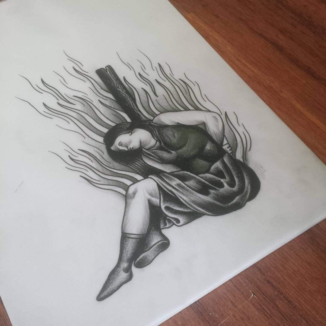 Burning Witch Tattoo Design
