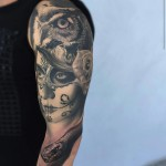 Catrina Owl and Snake Tattoo