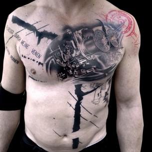 Chest Machine Trash Polka Tattoo