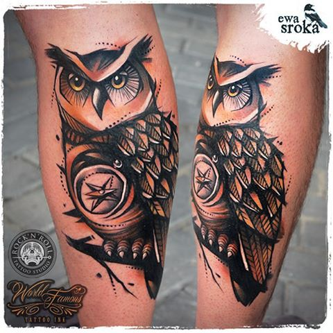Compass Owl Tattoo