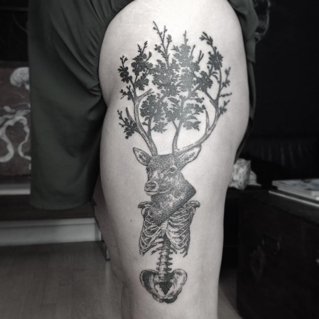 Deer Skeleton Tattoo