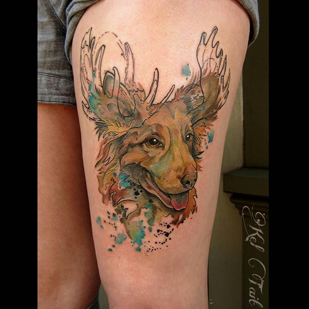 Dog Moose Tattoo