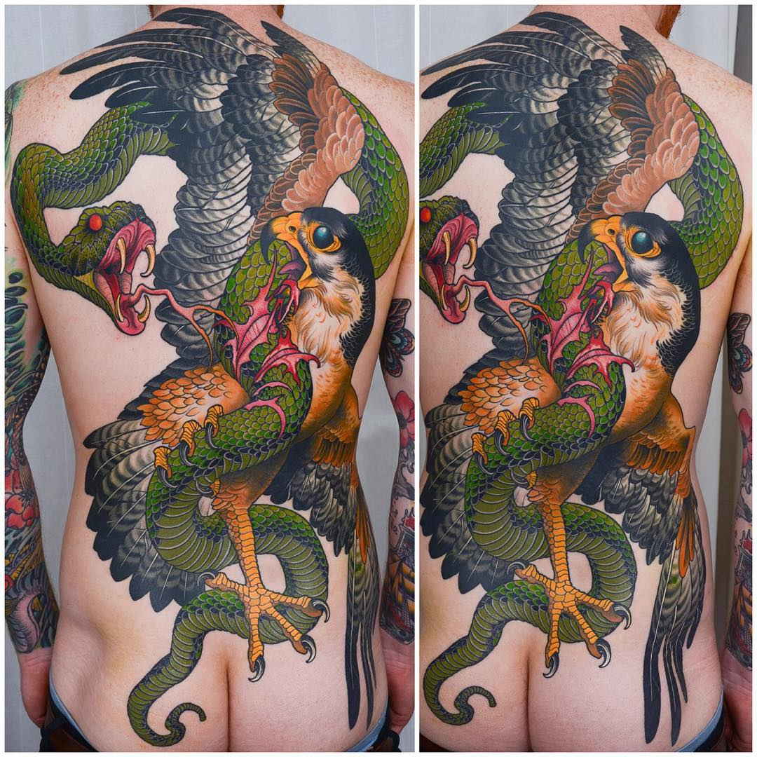 Falcon VS Snake Tattoo Full Back