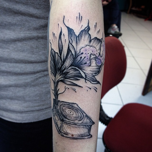 Gramophone Flower Tattoo