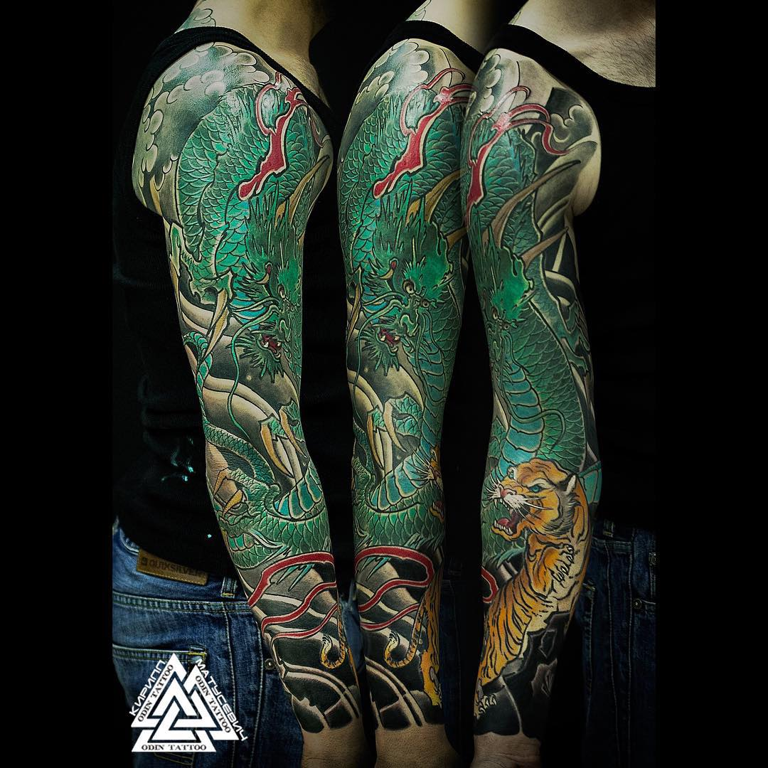 Japanese Dragon Sleeve Tattoo Best Tattoo Ideas Gallery