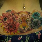 Leopard and Flowers Tattoo on Stomach