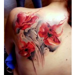Fire Poppy Flower Tattoo Watercolor